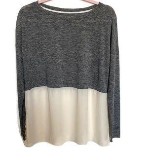 Lou & Grey Gray Color Block Long Sleeve Top